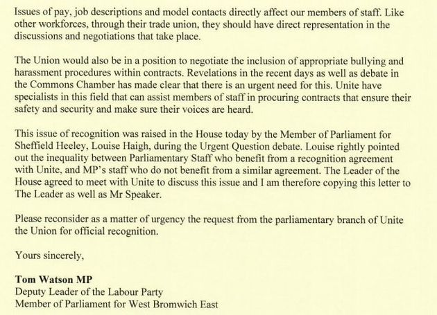 Tom Watson's letter to