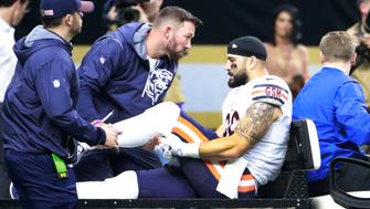 Chicago Bears tight end Zach Miller is loaded into a vehicle to be rushed to a New Orleans hospital Sunday