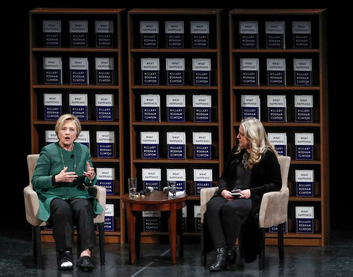"Clinton spoke with author Cheryl Strayed in Chicago on Monday as part of her ""What Happened"" book tour."