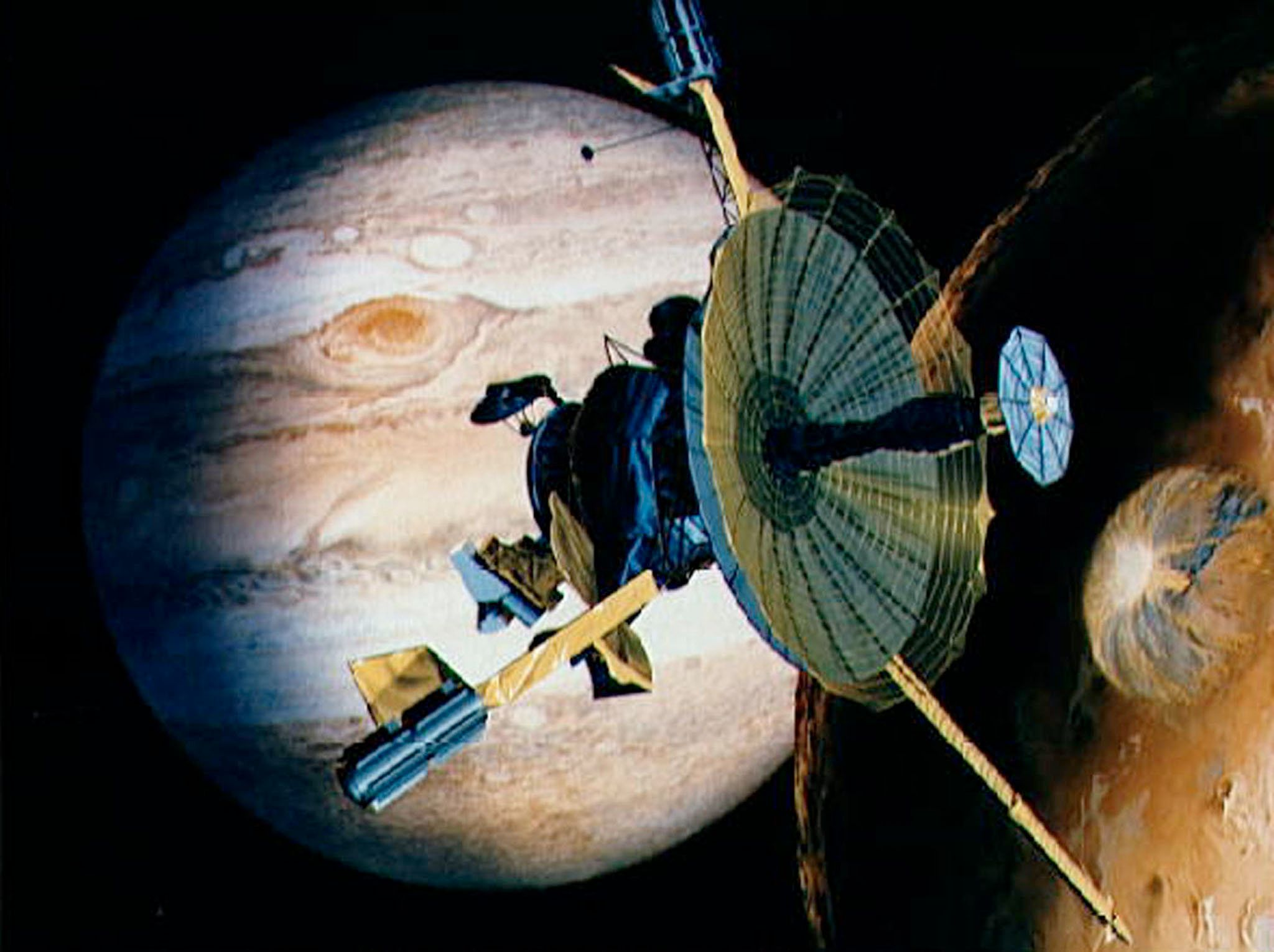 UNDATED PHOTO - NASA's veteran space traveler Galileo, shown nearing Jupiter in this artist's rendering, will team up with space newcomer Cassini for the first-ever joint observation of a planet by two spacecraft, the U.S. space agency said on March 9. Launched in 1989, the craft arrived at Jupiter in 1995 for a two-year mission that was supposed to end in December 1997, but has now been extended at least until the end of this year.  RC/JP
