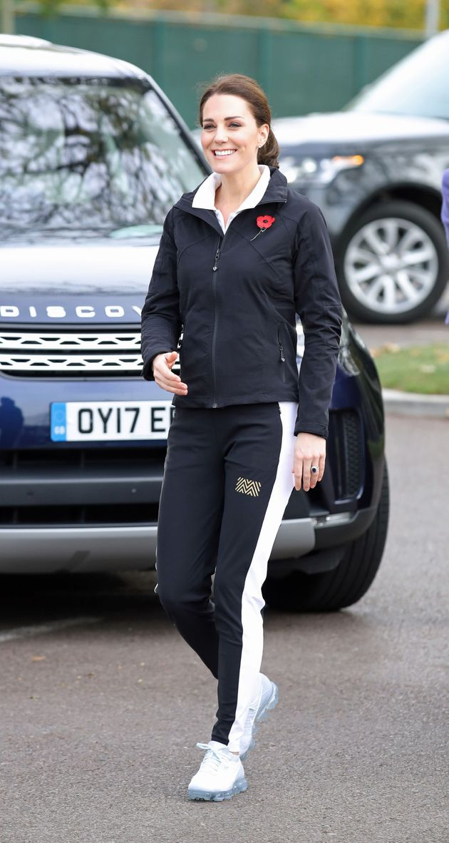 The Duchess of Cambridge arrives for a visit to the Lawn Tennis Association at the National Tennis Centre,