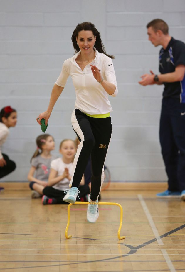 The Duchess of Cambridge takes part in a tennis workshop at Craigmount High School in Edinburgh, Scotland,...
