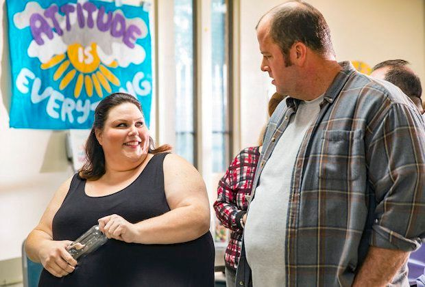 "Chrissy Metz as Kate and Chris Sullivan as Toby on ""This Is Us."""