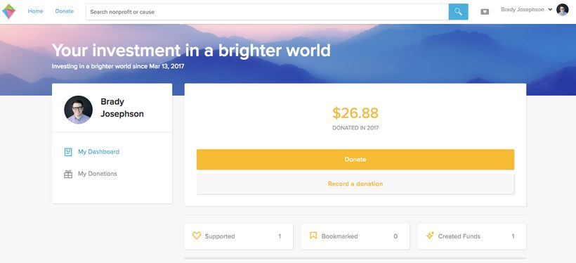 Your own account to give and track donations to nonprofits.