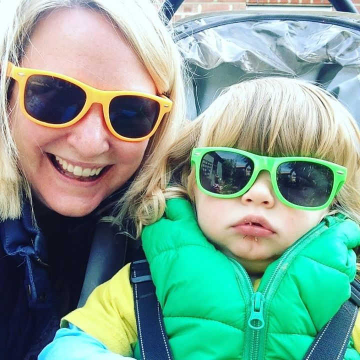 Caro Townsend with her two-year-old son Sam.