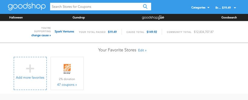 Your Goodsearch dashboard.