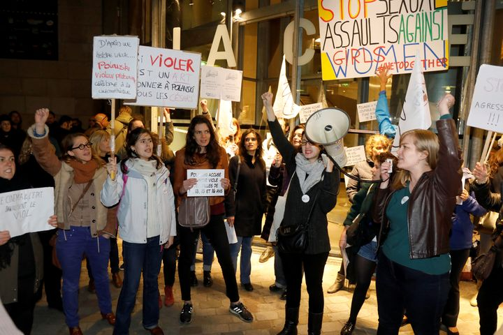 Feminist protesters gather outside the Cinémathèque Française to demonstrate upon the appearance of dire