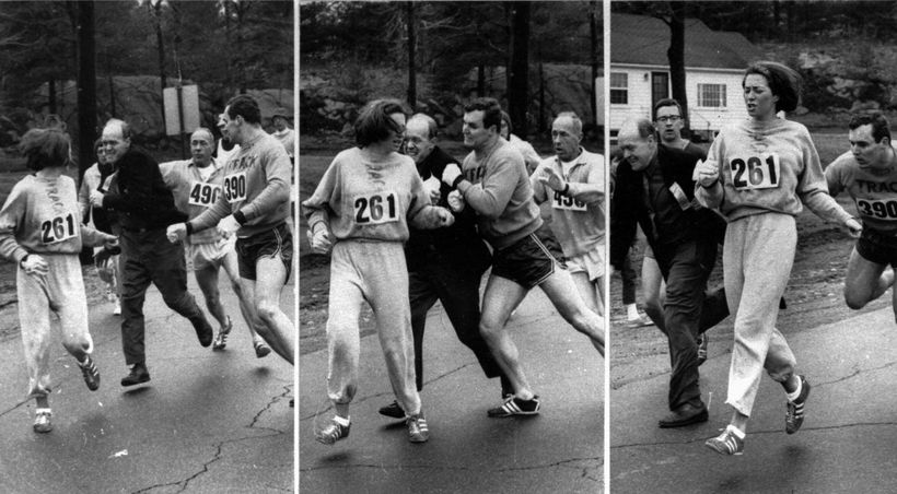 Kathrine Switzer in 1967 Boston  Marathon