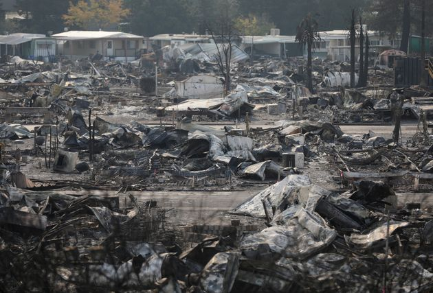 The remains of a mobile home in Santa Rosa, California, onOct. 15,
