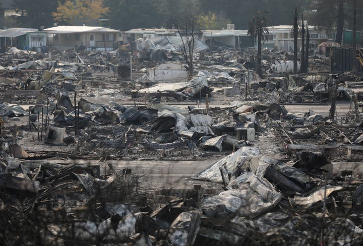 The remains of a mobile home in Santa Rosa, California, on Oct. 15, 2017.