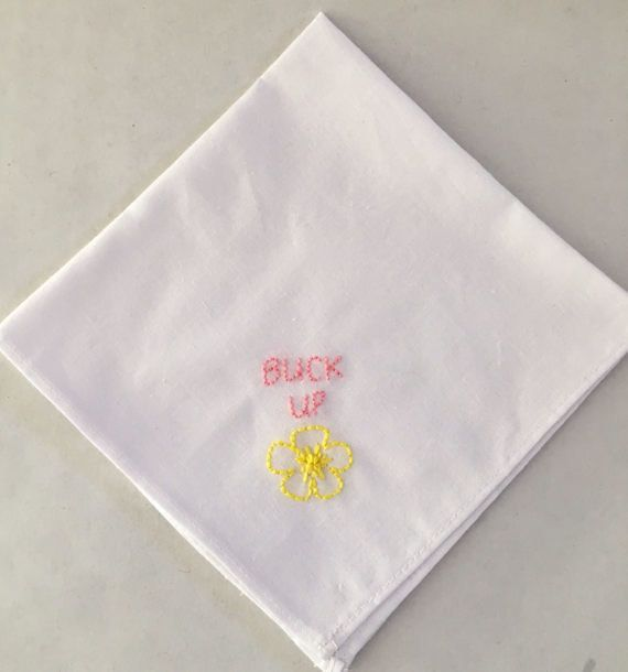 """<i>Buy it from <a href=""""https://www.etsy.com/listing/505859404/buck-up-buttercup-hand-embroidered"""" target=""""_blank"""">CraftyGing"""