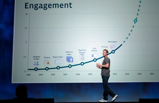 Facebook CEO Mark Zuckerberg stands in front of a slide boasting about user engagement during his address...