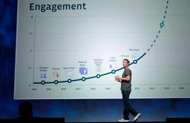 Facebook CEO Mark Zuckerberg stands in front of a slide boasting about user engagement during his address at the company's 20