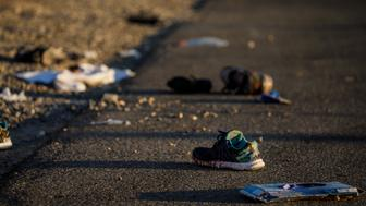 LAS VEGAS, NV - OCTOBER 2: Discarded personal items covered in blood sit on Kovaln Lane, in the aftermath of the mass shooting  leaving at least 58 dead and more than 500 injured, in Las Vegas, Nevada, on Oct. 2, 2017. (Photo by Marcus Yam/Los Angeles Times via Getty Images)