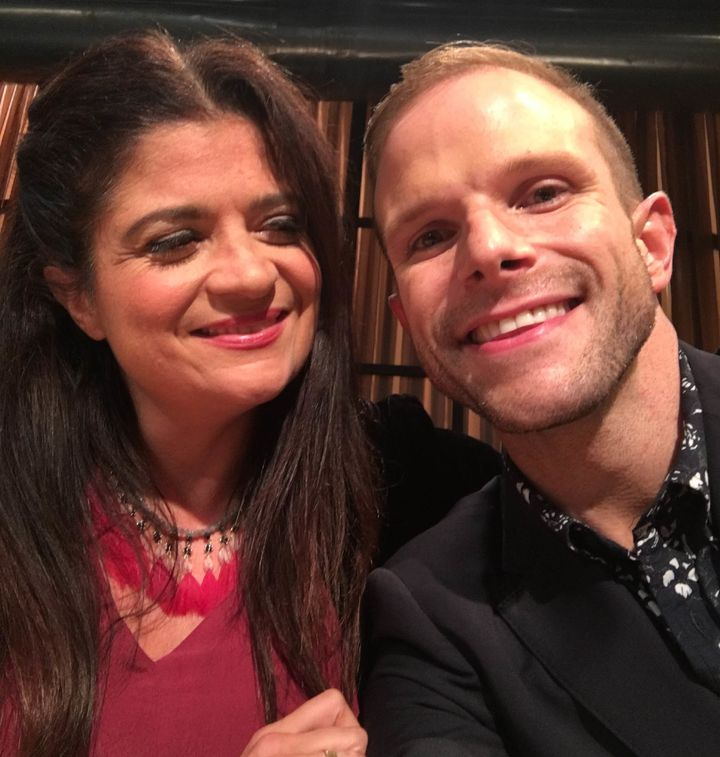 <p>Alex Guarnaschelli and Zac Young on the set of Chopped</p>