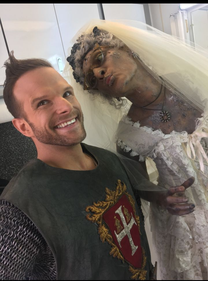 """<p>""""I'm so lucky to have worked with Carla Hall, she is so nice, and smart and sweet. She's one of those people who, just being in the same room as her, you just feed on her energy. She's a former theater kid too, so when you give us both costumes, you just get characters!"""" </p>"""
