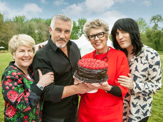 Sandi and Paul with Bake Off co-stars Prue Leith and Noel