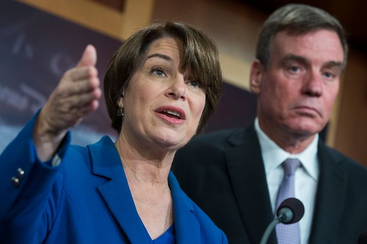 Sens. Amy Klobuchar, D-Minn., and Mark Warner, D-Va., conduct a news conference on the Honest Ads Act