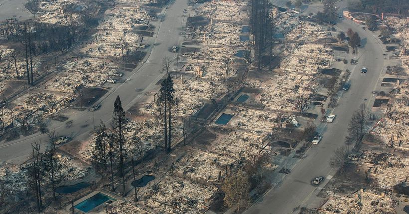Devastation from California wildfires: perversely, this will have a positive impact on GDP