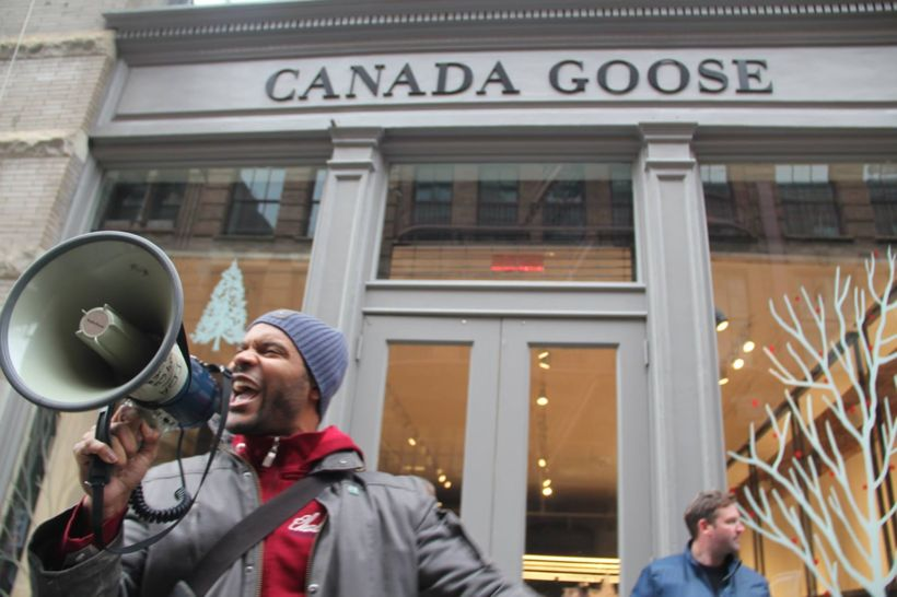 Jabari leads a chant at an anti-fur protest at Canada Goose's flagship NYC location