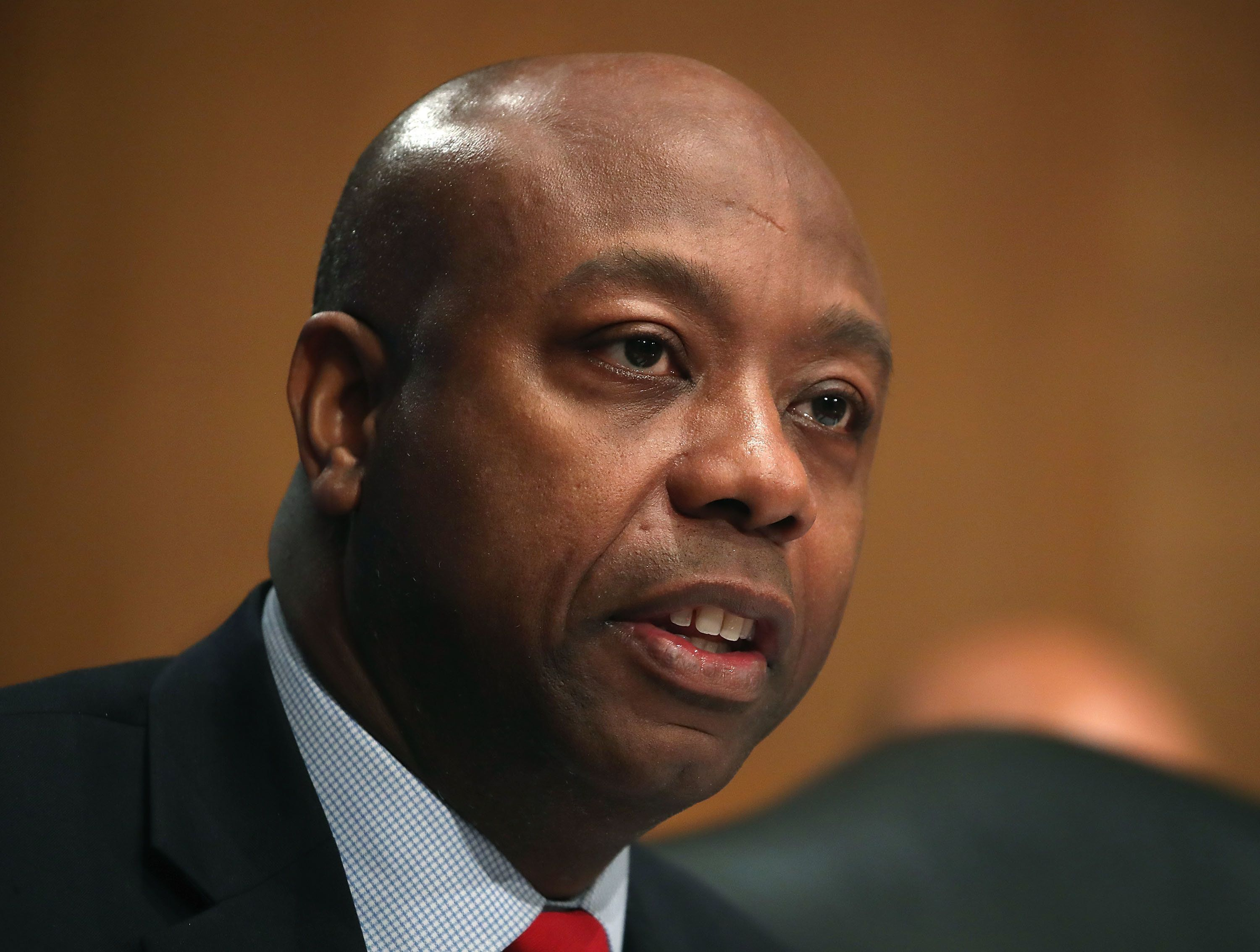 WASHINGTON, DC - OCTOBER 04:  Sen. Tim Scott (R-SC) questions former Equifax CEO Richard Smith during a Senate Banking, Housing and Urban Affairs Committee hearing in the Hart Senate Office Building on Capitol Hill October 4, 2017 in Washington, DC. Smith stepped down as CEO of Equifax last month after it was reported that hackers broke into the credit reporting agency and made off with the personal information of nearly 145 million Americans.  (Photo by Mark Wilson/Getty Images)