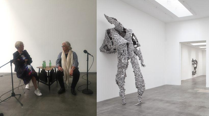 L: Curator Helen Molesworth and artist Lynda Benglis in discussion at Blum & Poe Los Angeles. October 2017. R: Installati