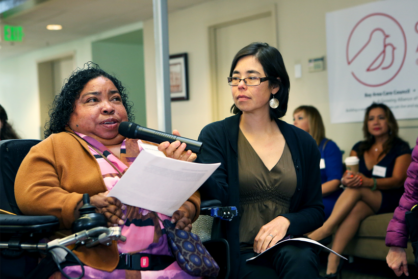Disability activist Nikki Brown-Booker shares her story with California lawmakers at a Care Agenda event at UDW's offices in