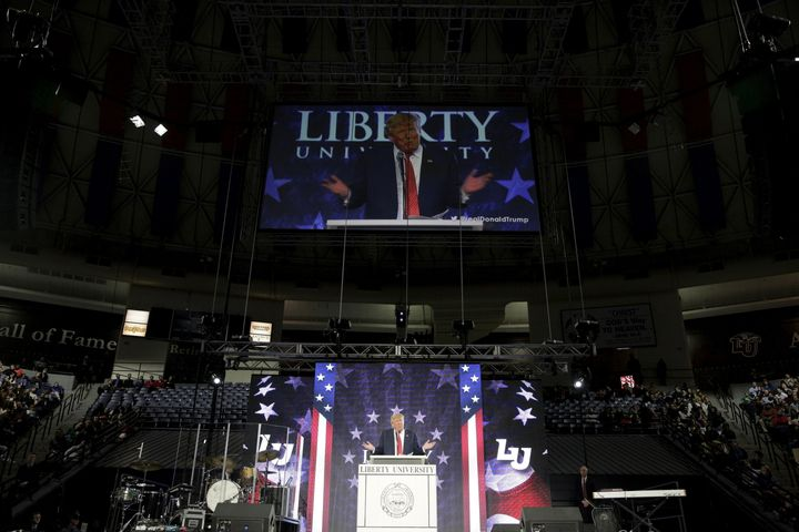 Donald Trump (then a candidate for the presidency) speaks at Liberty University in Lynchburg, Virginia, January 18, 2016.&nbs