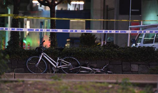 Bikeslie inside the roped-off crime scene in lower Manhattan on Tuesday