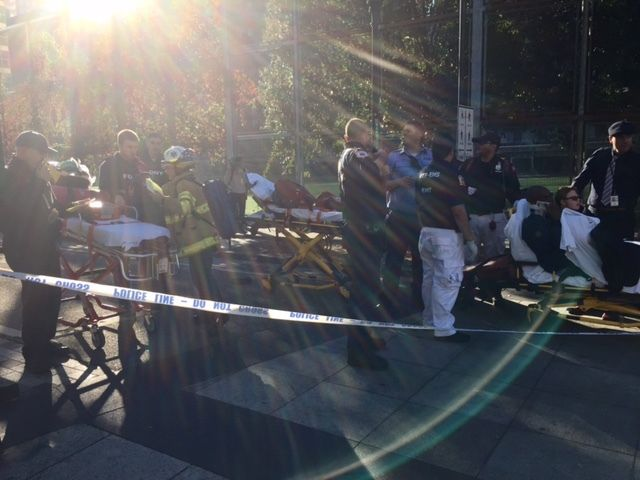 Paramedics and other emergency personnel on the Hudson River Bike path— October 31