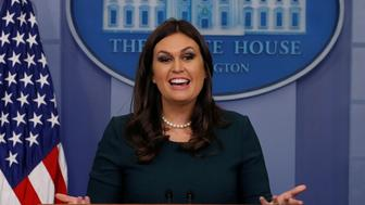 White House Press Secretary Sarah Huckabee Sanders holds the daily briefing at the White House in Washington, U.S., October 20, 2017. REUTERS/Jonathan Ernst