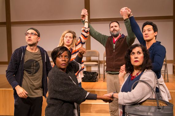 <strong>The cast of </strong><em>Small Mouth Sounds:</em><strong> from left, Ben Beckley, Cherene Snow, Brenna Palughi, Conno