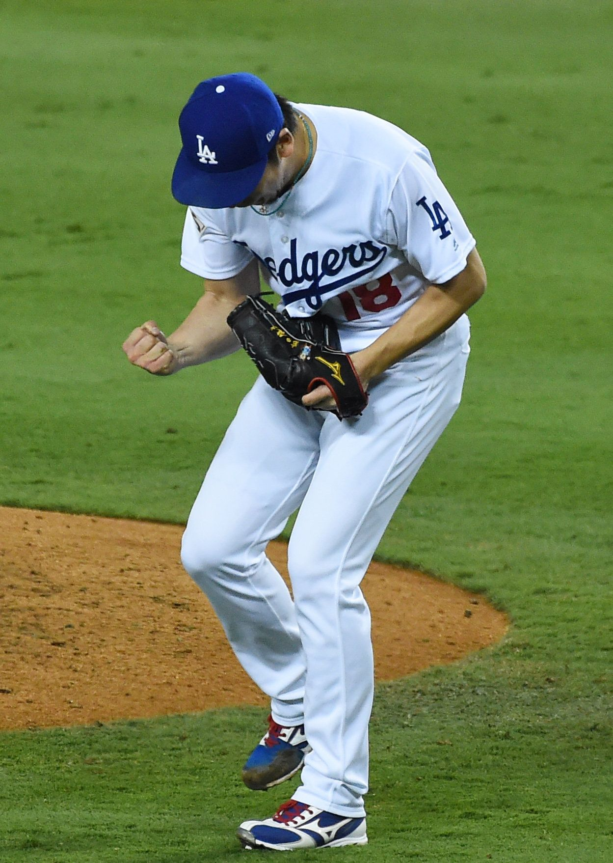 Oct 31, 2017; Los Angeles, CA, USA; Los Angeles Dodgers pitcher Kenta Maeda reacts after retiring the Houston Astros in the 7th inning in game six of the 2017 World Series at Dodger Stadium. Mandatory Credit: Jayne Kamin-Oncea-USA TODAY Sports