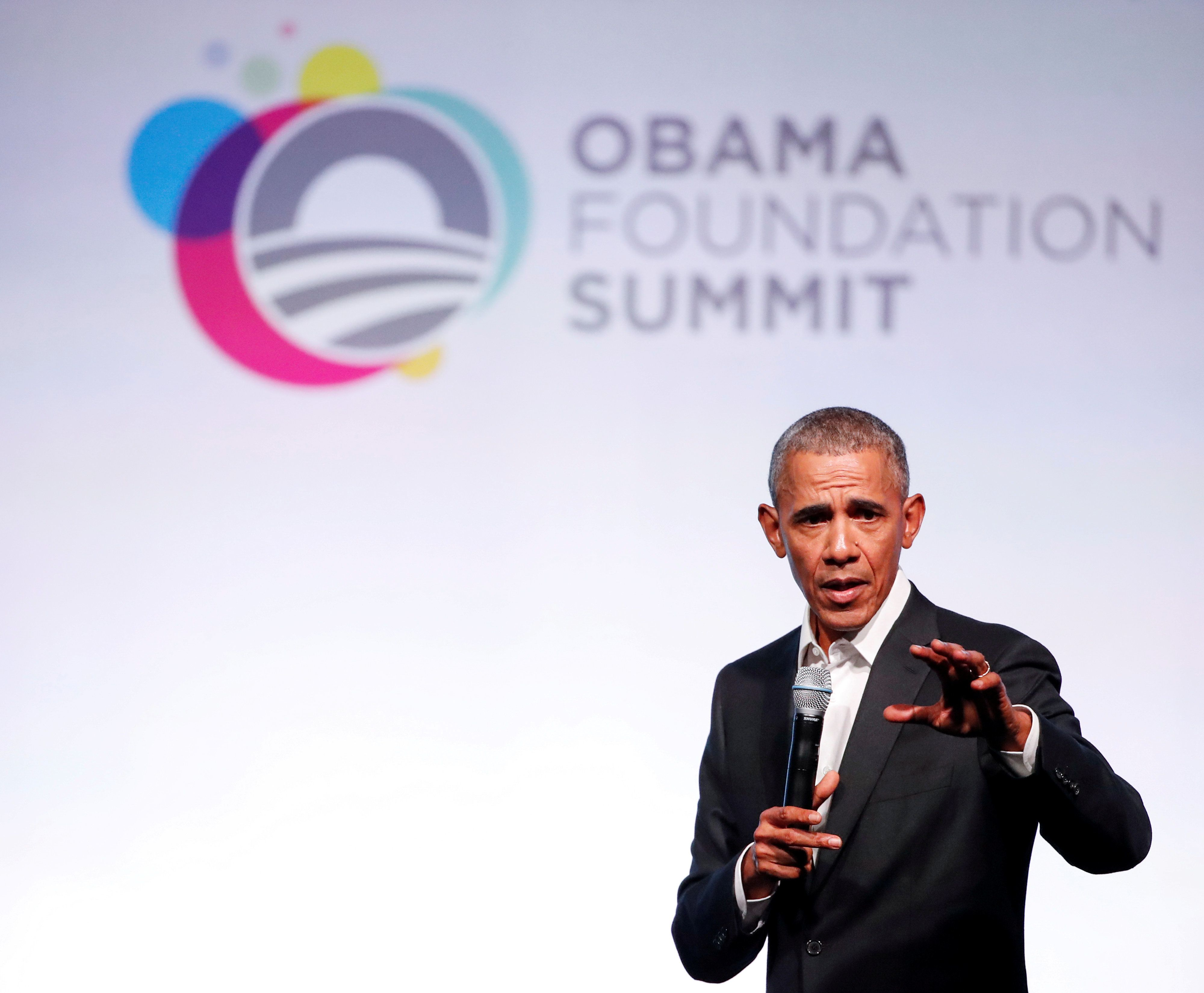 Former U.S. President Barack Obama speaks during the first day of the Obama Foundation Summit in Chicago, Illinois, U.S. October 31, 2017. REUTERS/Kamil Krzaczynski     TPX IMAGES OF THE DAY