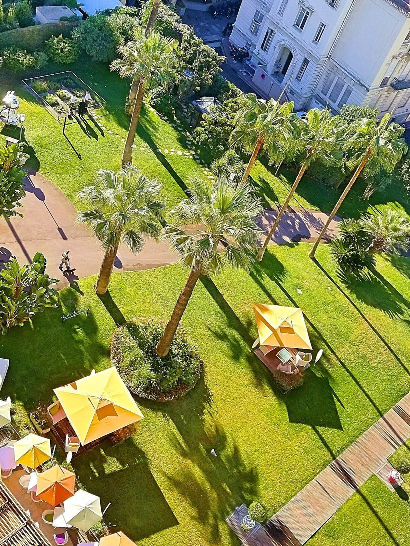 An overview of the Gardens at Le Grand Hotel, Cannes.