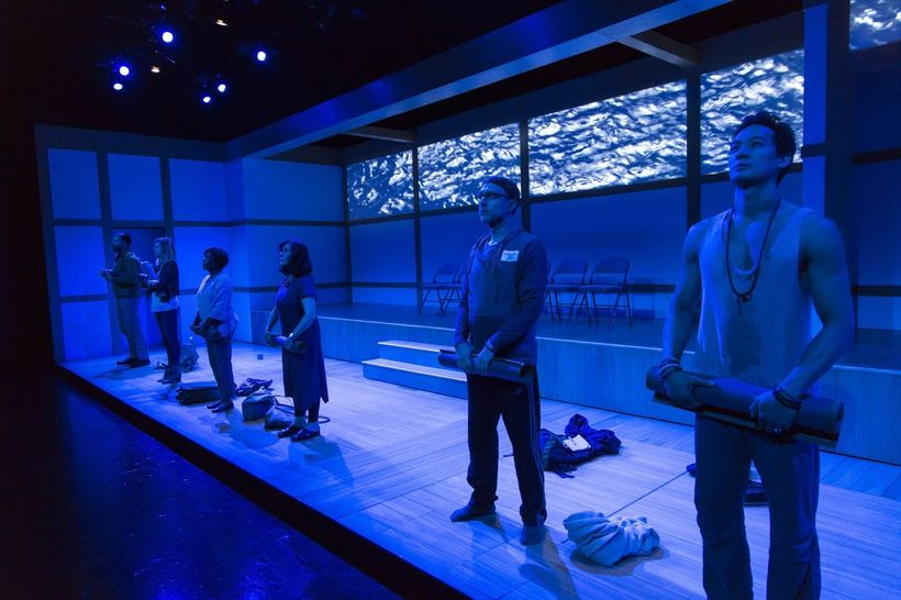 Six characters in search of inner peace arrive at a silent retreat in a scene from<strong><em>Small Mouth Sounds</em></stron