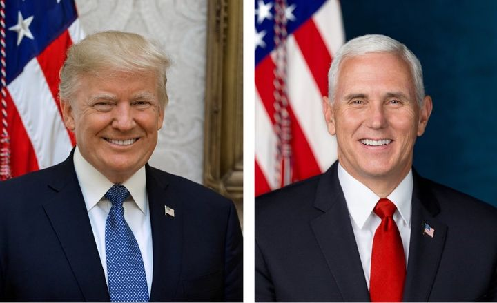 President Donald Trump, left, and Vice President Mike Pence in their newly released White House portraits.