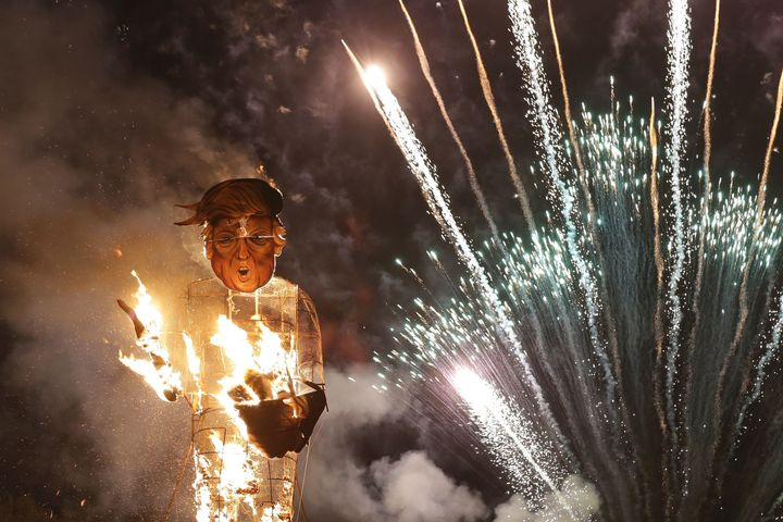 An effigy of Donald Trump was sent up in flames in Edenbridge, England, in 2016.