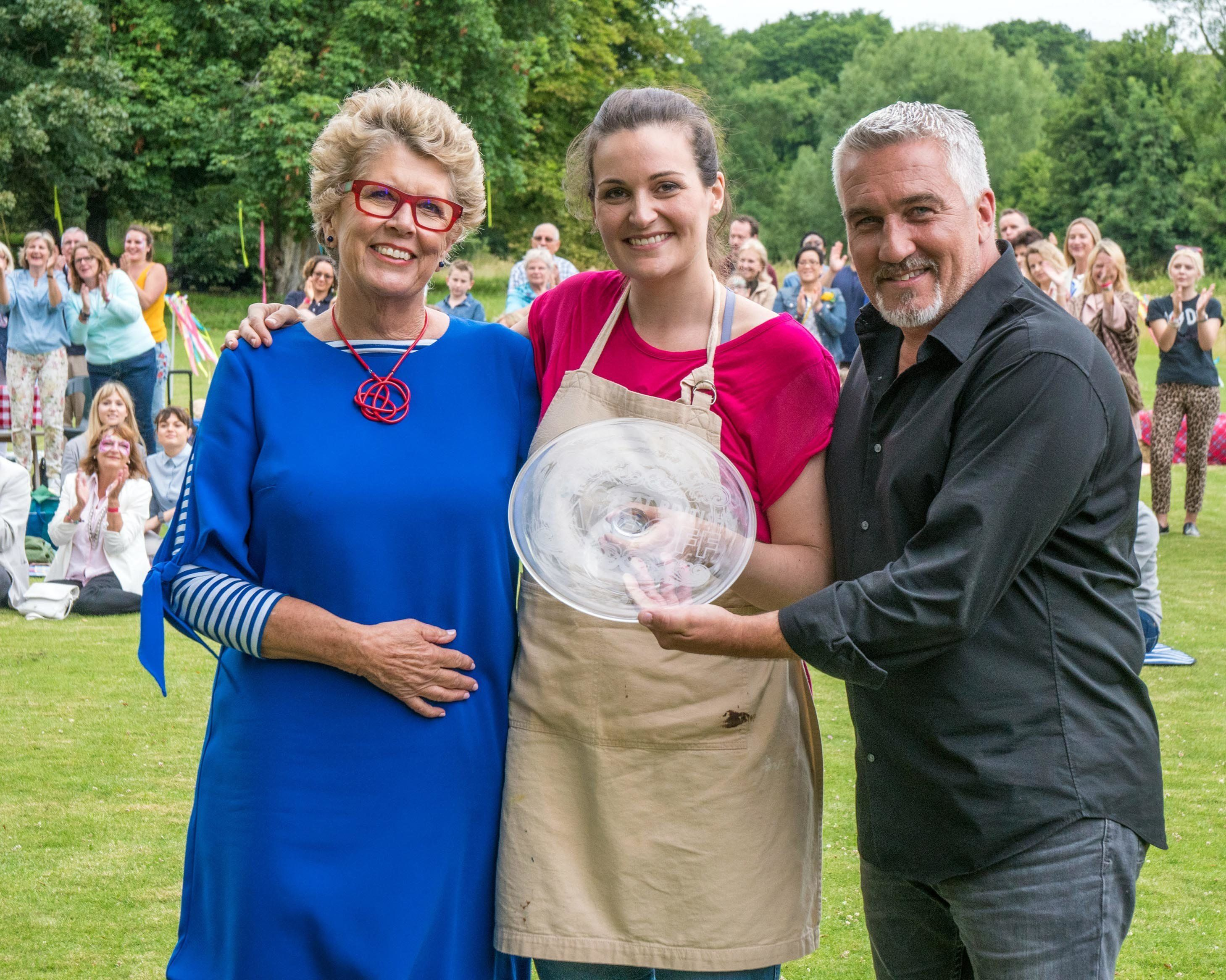 Judges Prue Leith (left) and Paul Hollywood with 2017 'Bake Off' champ Sophie