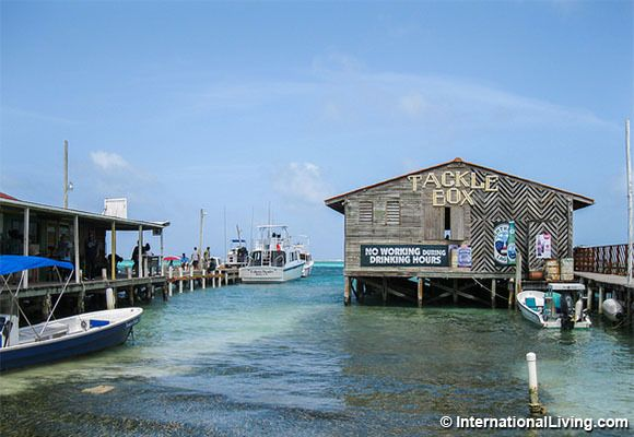 Boats and Piers, Ambergris Caye, Belize.