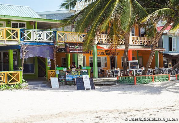 Beach restaurants, Ambergris Caye, Belize.