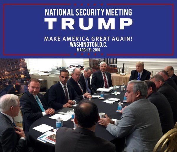 """national security meeting in Washington D.C.,"" on March 31, 2016, along with Trump, Sessions and others."