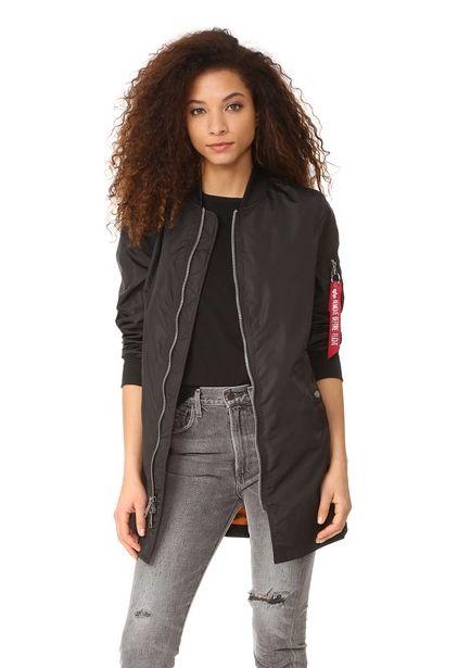 """Original price: $150<br>Sale price: <a href=""""https://www.shopbop.com/long-bomber-jacket-alpha-industries/vp/v=1/1555410493.ht"""