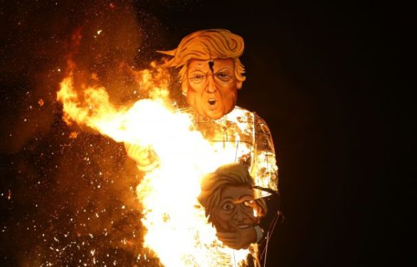 Donald Trump's effigy was set alight last