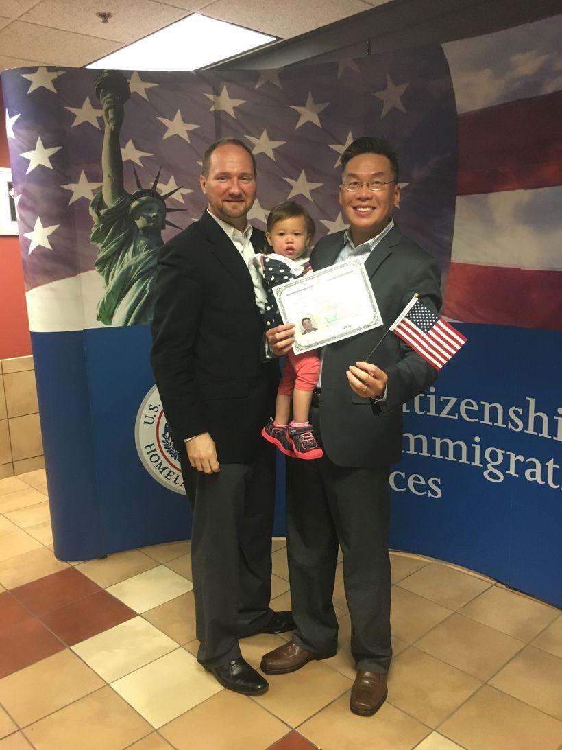 (L-R) Dennis, Ava, and Alex celebrating Alex's naturalization