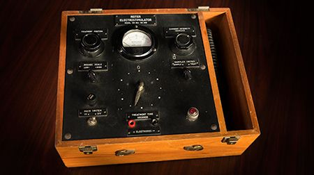 <p><strong>From the Archives: </strong>This device was used in early delivery of electroconvulsive therapy. Modern ECT devices utilize cutting-edge technology and the latest in health care advances.</p>