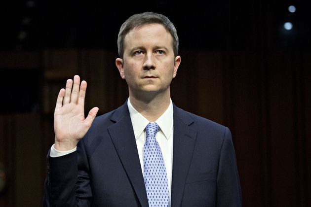 Sean Edgett, Twitter's acting general counsel, swears in at a U.S. Senate hearing on Tuesday about Russia's...
