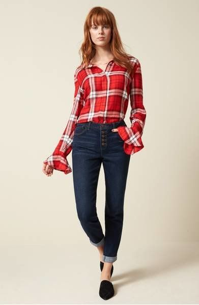 "A sweet, ruffled take on your <a href=""https://shop.nordstrom.com/s/sanctuary-nightscape-plaid-ruffle-cuff-shirt-regular-peti"