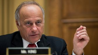 WASHINGTON, DC - OCTOBER 26: Rep. Steve King (R-IA) questions witnesses during a House Judiciary Committee hearing concerning the oversight of the U.S. refugee admissions program, on Capitol Hill, October 26, 2017 in Washington, DC. The Trump administration is expected to set the fiscal year 2018 refugee ceiling at 45,000, down from the previous ceiling at 50,000. It would be the lowest refugee ceiling since Congress passed the Refugee Act of 1980. (Photo by Drew Angerer/Getty Images)