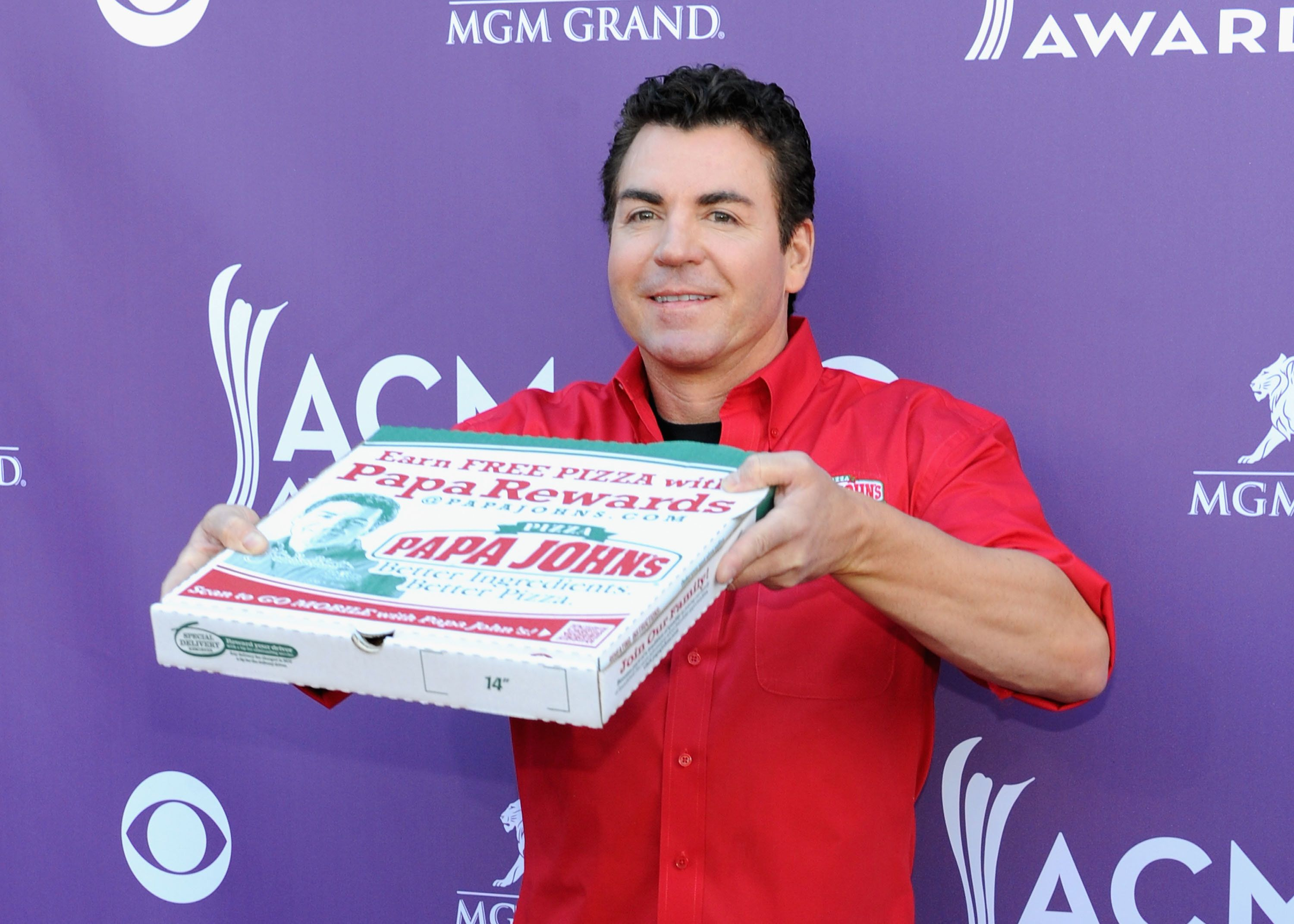 LAS VEGAS, NV - APRIL 01:  Papa Johns Pizza Founder John Schnatter arrives at the 47th Annual Academy Of Country Music Awards held at the MGM Grand Garden Arena on April 1, 2012 in Las Vegas, Nevada.  (Photo by Denise Truscello/WireImage)